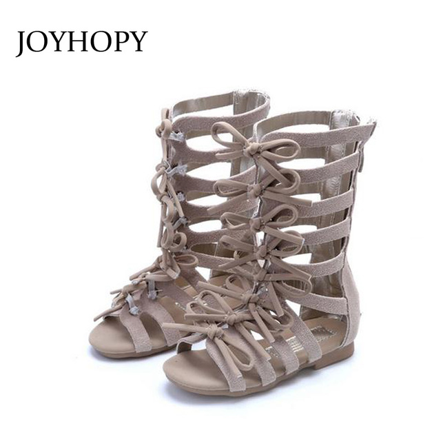 a031777117fc JOYHOPY High quality Girls Roman Sandals Genuine Leather Girls shoes  Fashion Children Shoes Gladiator Baby sandals