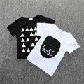 BC134 1 unids algodón de Manga Corta Camisetas Para Niñas negro Blanco Camisetas bebé tops camisetas de los muchachos ropa para niños venta al por menor