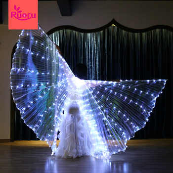 Ruoru 382 Pieces Leds Split Led Isis Wings Women Belly Dance Props 360 Degrees LED Shining Wings Girls Dance Wings with Sticks