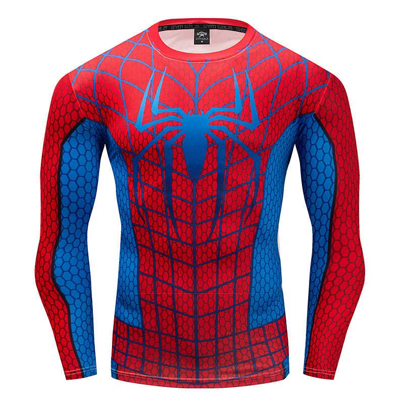2019 распродажа, Высококачественная боевая одежда «Человек-паук», коллекция, футболки с длинными рукавами, 3d, компрессионные, для фитнеса