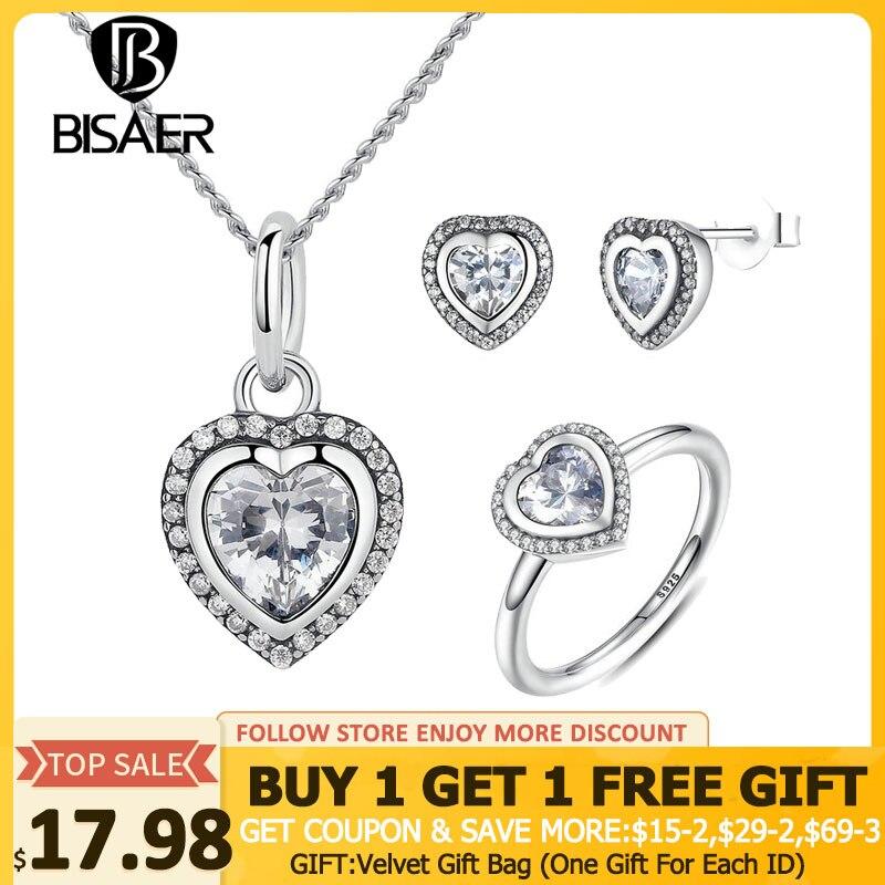 bf4ef6396741 Conjunto de joyas de plata de ley 925 espumosos amor corazón conjuntos de  joyas de plata