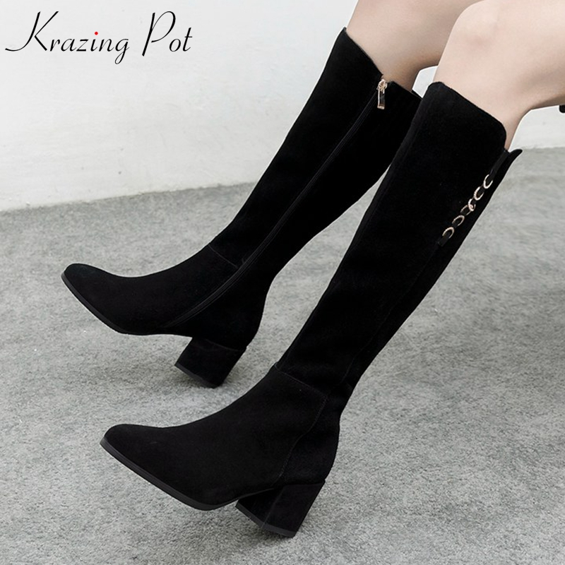 krazing pot cow suede full grain leather round toe high heels cowboy mature European metal buckle riding thigh high boots L12 krazing pot genuine leather 2018 round toe high heels metal fasteners motorcycle boots mature women round buckle ankle boots l26