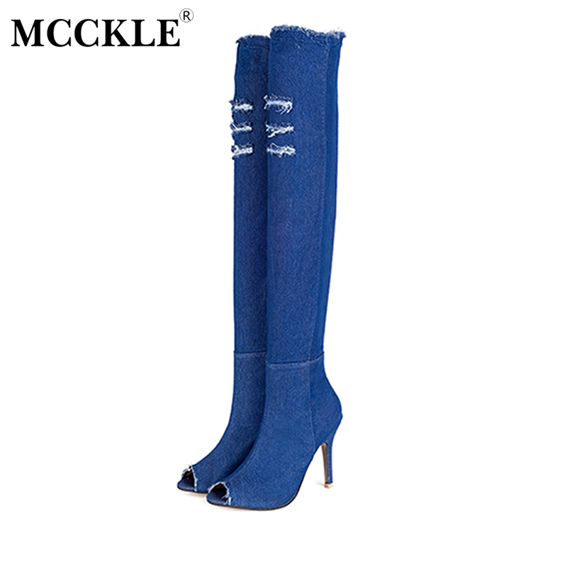 MCCKLE 2017 Women Shoes Woman Over The Knee Boots Ripped Peep Toe Denim High Heels Tight Fitness Elastic Jeans Zip Sexy Pumps