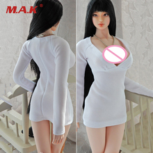 1/6 Scale Womens Sexy White Dress Model for 12 inches Large Breast Body Figures 1 6 scale military figures 1 6 male body series asian skin tone mx02 b resin model body free shipping