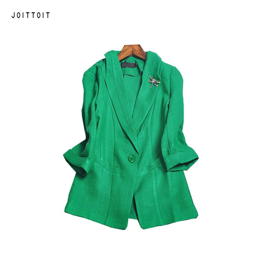Women Outerwear Blazer Office Lady Single Button Black White Green Linen Blazer Coat Plus Size Three Quarter Sleeve Blazer Coat