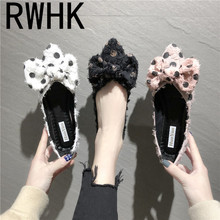 RWHK 2019 spring new simple pointed shallow mouth fashion wild shoes female Korean version of the dot bow flat shoes B431 korean female black work shoes candy shoes pointed flat with flat shoes shallow mouth small son wild shoes b25