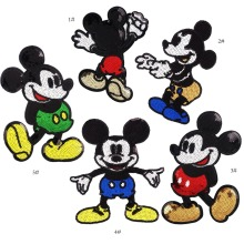 5pcs/set Sequins Mouse Iron on Patches for Clothes Jeans Big Motif Embroidery Applique Rat Mickey Sequined Patch Sewing DIY
