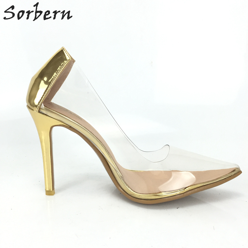 Sorbern Gold Shiny Women Pump High Heels Transparent Pvc Ladies Shoes Heeled Plus Size Custom Colors Night Club Footwears Shoe more colors custom handmade ivory lace wedding shoes for women high heeled size 9