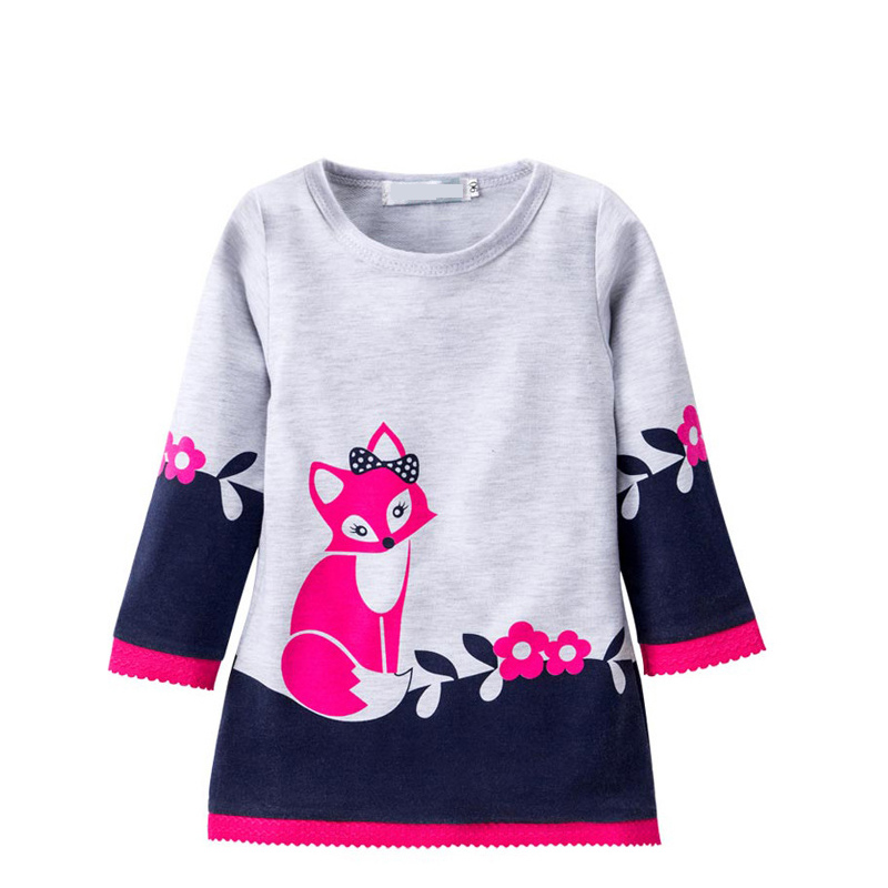 Brand flower fox Girl Dresses Autumn Girls Dress Printed lace Baby clothes Princess Sleeve Cotton Robe