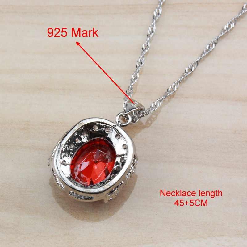 ดูไบ 925 เงินสเตอร์ลิงโกเมนสีแดงเจ้าสาวงานแต่งงานเครื่องประดับชุดผู้หญิง Hoop ต่างหู/สร้อยคอ/สร้อยข้อมือ /แหวน