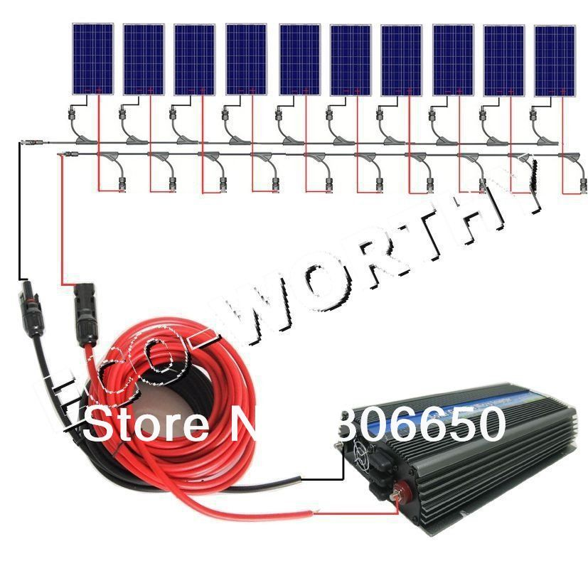 USA style 1000W COMPLETE KIT: 10*100W WATT PV poly Solar cell Panel 12V on grid solar system# dc house usa uk stock 300w off grid solar system kits new 100w solar module 12v home 20a controller 1000w inverter