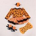 Skull Pumpkin Orange Baby Halloween Costumes Long Sleeve Baby Girl Romper Dress Lace Tutu Jumpsuit Macacao Bebe Newborn Clothing