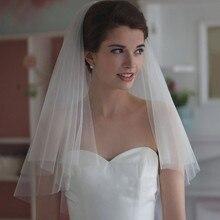 Promotion Short Simple Wedding Veils 2016 White Ivory Two Layer Bridal Veil Wedding Accessories With Comb Velos De Novia
