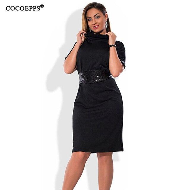 COCOEPPS Mode casual Pailletten frauen kleider big size Rollkragen ...