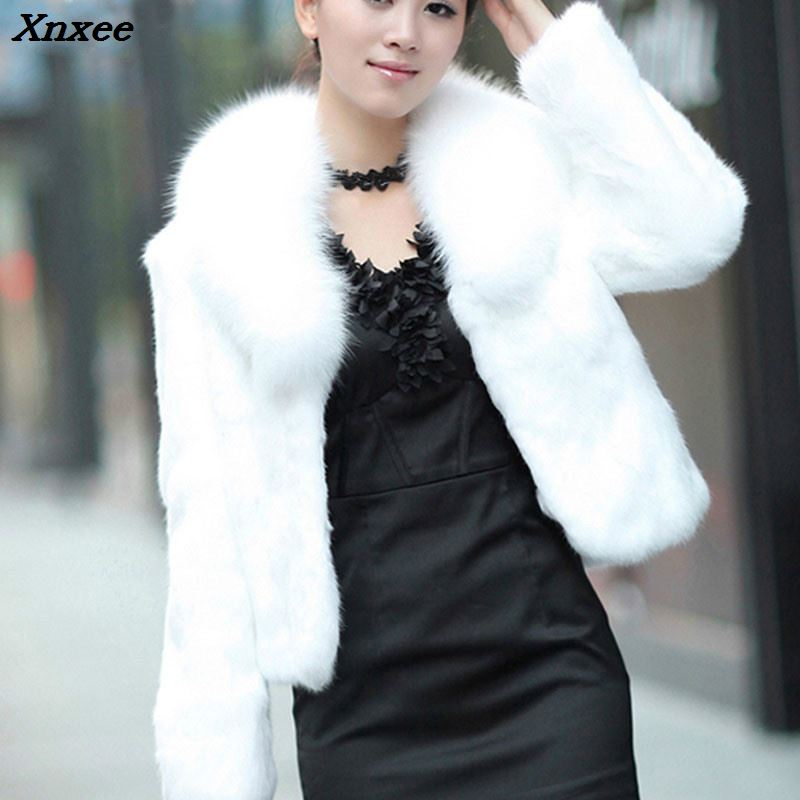 Xnxee Stylish Faux Fur Coat Thicken Warm Outwear Women Winter New Jacket Long Sleeve White Black Plus Size 3XL