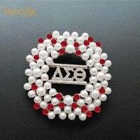 Дельта Сигма Theta красный белый жемчуг AEO DST брошь отворот булавка ювелирные изделия
