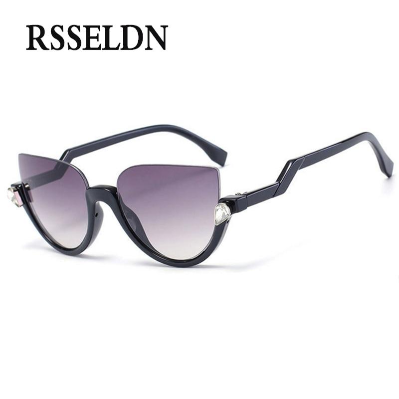RSSELDN New Vintage Cat eye Sunglasses Women Brand Designer Woman Sun Glasses UV400 luxury Woman sunglasses oculos de sol