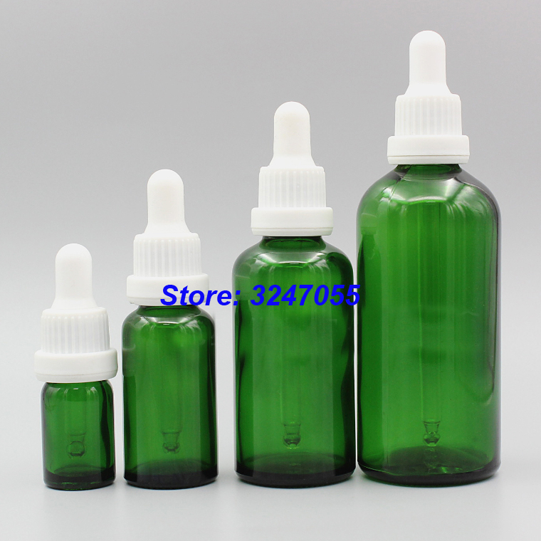 5ml10ml15ml20ml30ml50ml100ml Green Glass Empty Essential Oil Bottle, Glass Pipette Dropper Vials, Portable Essence Container 20 100pcs 18 410 bamboo gold silver essential oil press pump cap dropper essence liquid cover without glass pipette and bottle