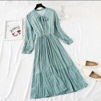 Floral Print Chiffon Dress 2019 Women Spring Flare Sleeve Ruffle Pleated Long Dress Elastic Waist Vintage Femme Vestidos