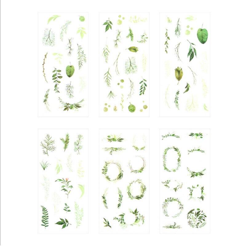Купить с кэшбэком 6pcs/lot Kawaii Stationery Creative leaf Stickers Stationery Transparent Cartoon Label Stickers office School Supplies