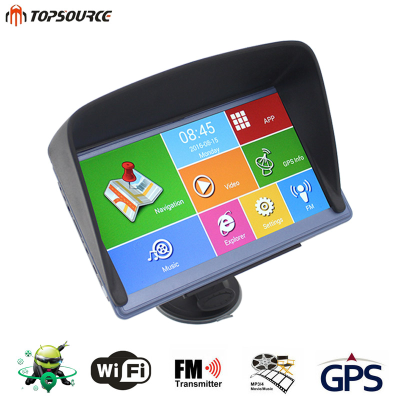 TOPSOURCE 7'' car gps navigation android wifi 8GB DDR800MHZ