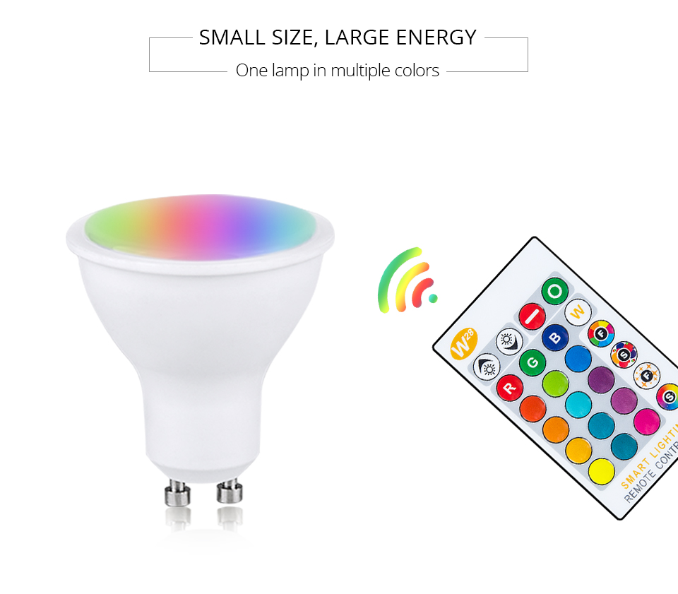 Magic RGB LED Light Bulb GU10 E27 AC85-265V Smart Lighting Lamp Color Change Dimmable With IR Remote Controller 5W 10W 15W Light (10)