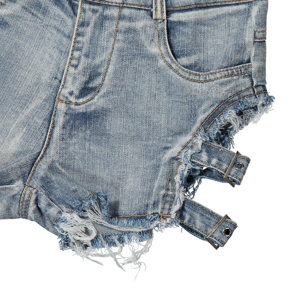 2018 Summer Sexy Women Denim Shorts Hollow Out Bandage Punk Rock High Waist Shorts 12
