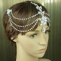 YT-001 Crystal head chain indian head jewelry rhinestone headbands wedding hair jewelry tiara for bride