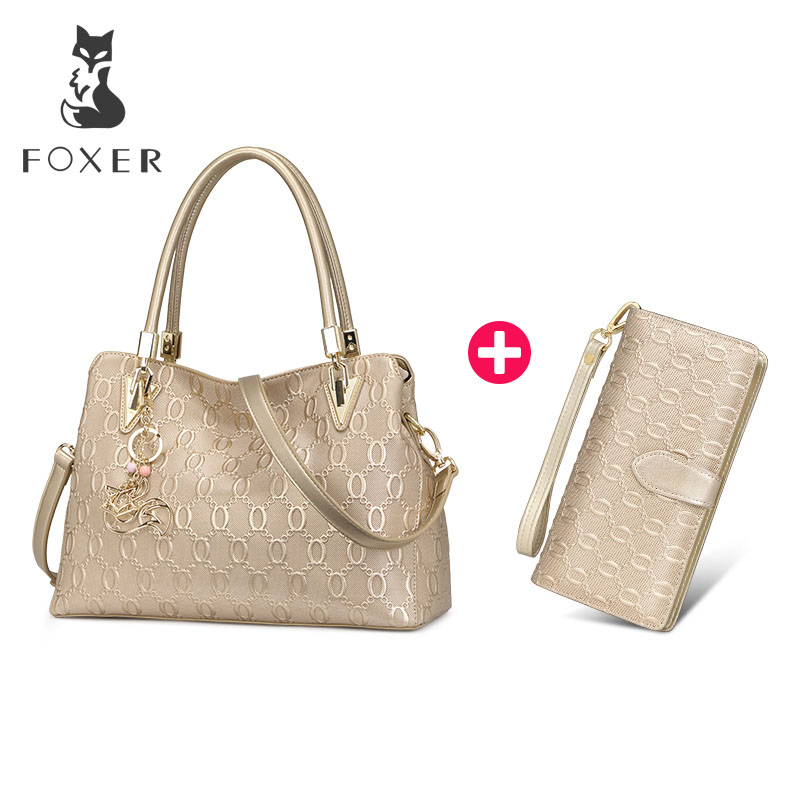 FOXER Women s Cow Leather Shoulder bag Crossbody Bags Female Fashion Purse Totes Handbag Combination package