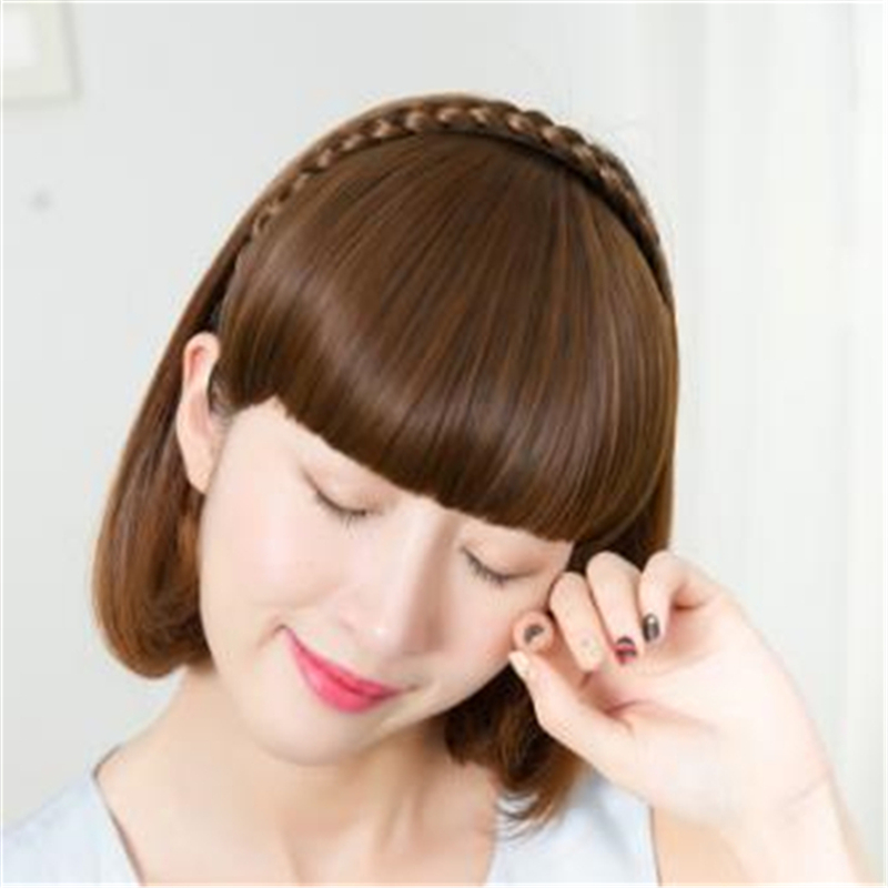 15cm Length Short Braid Blunt Bangs Natural Tidy Hairpieces Heat Resistant Synthetic Women Hair Available Natural Fake Hair