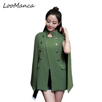 Fashion Cloak Cape Blazer Women Coat Black Khaki Lapel Split Long Sleeve Jacket Casual OL Suit