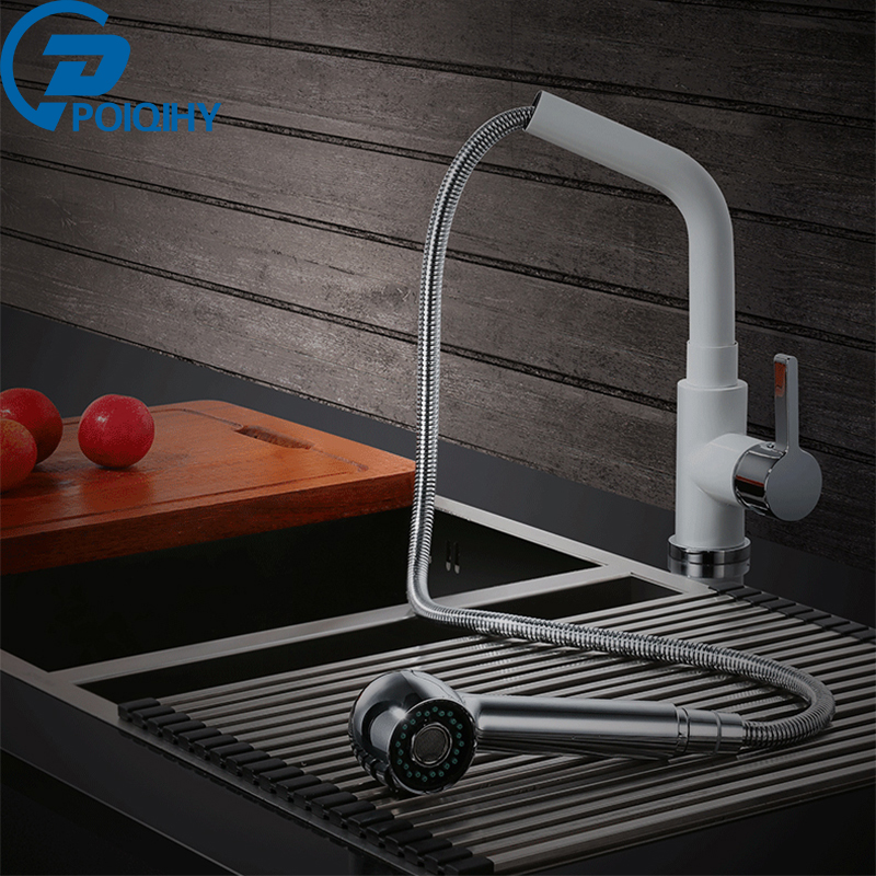 Chrome Kitchen Faucets Pull Out Kitchen Tap Single Hole Handle Swivel 360 Degree Water Mixer Tap Mixer Tap micoe pull style hot and cold water kitchen faucet mixer single handle single hole modern style chrome tap 360 swivel m hc103