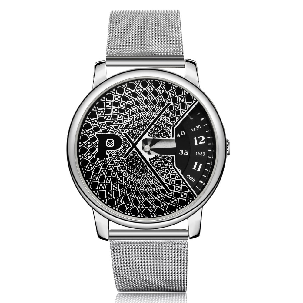 Paidu Popular Fashion Turntable Watches Steel Mesh Sport Watch Men Watch Luxury Silver Watches Quartz Clock
