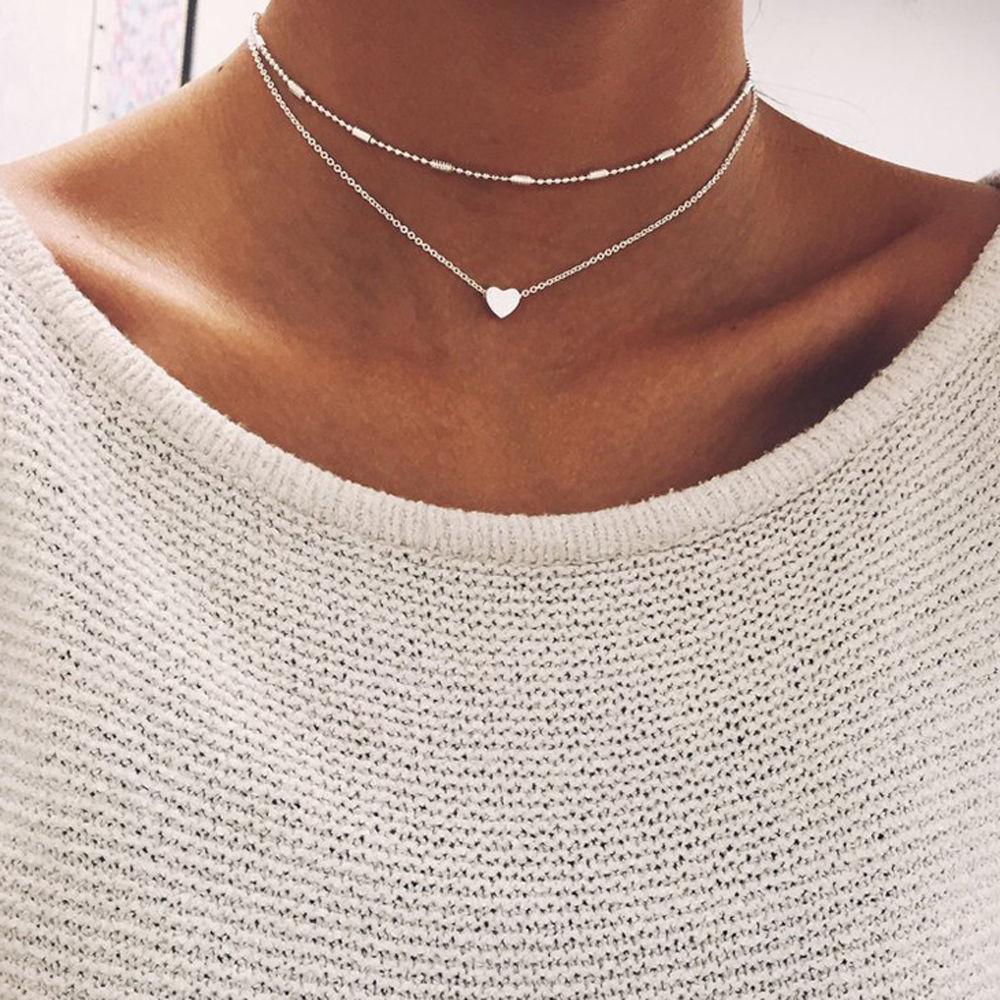 Горячая Мода 2 слоев кулон сердце Колье Цепи воротник Цепочки и ожерелья для Для женщин Летние подарки