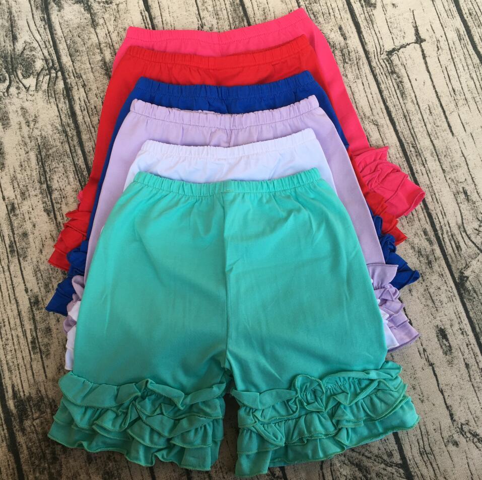 Китайские детские низкие шорты с рюшами разных цветов, сшитые шорты с оборками для маленьких девочек
