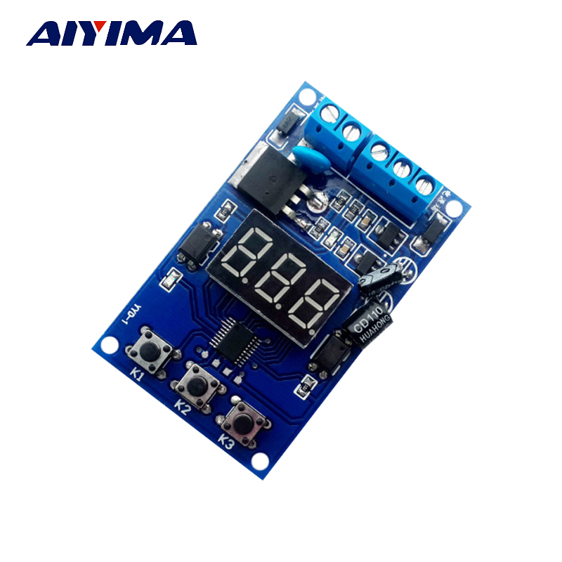 Aiyima 5V-30V Pulse Signal Cycle Time Delay Timer Switch FET MOS Control 0.1Sec~999Min trigger cycle timer delay switch circuit board mos tube control module 12 24v