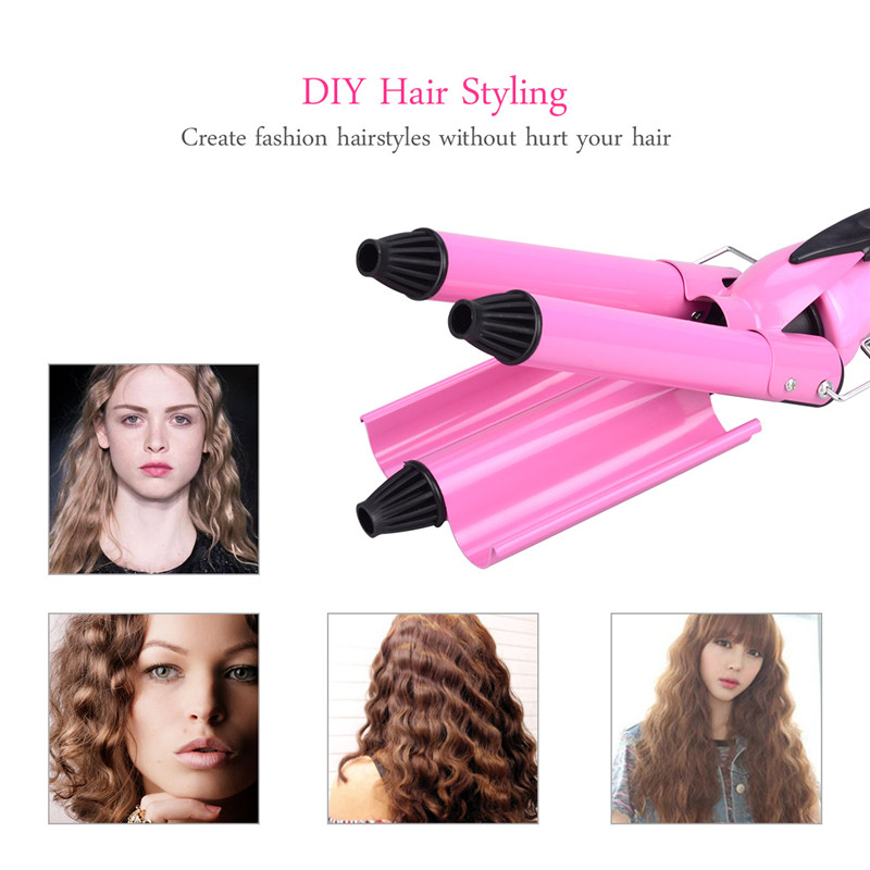 Triple Barrels Curling Iron Nano Ceramic Coating Negative ion Deep Wave Waver Clamp  Wand Adjustable Temperature Heating Curler ckeyin lcd professional hair curling iron tourmaline ceramic triple barrels curler big wave negative ions waver styling tools