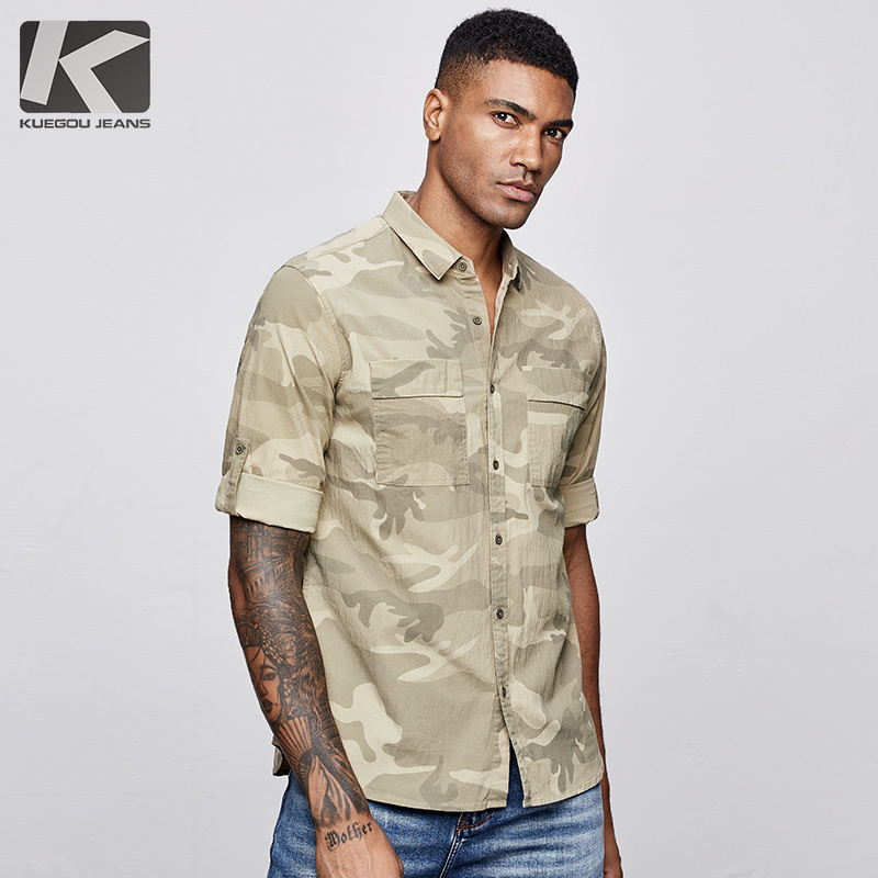 KUEGOU 2019 Summer Cotton Camouflage Printed Military Shirt Men Dress Casual Slim Fit Streetwear For Blouse Men Fashions 8839