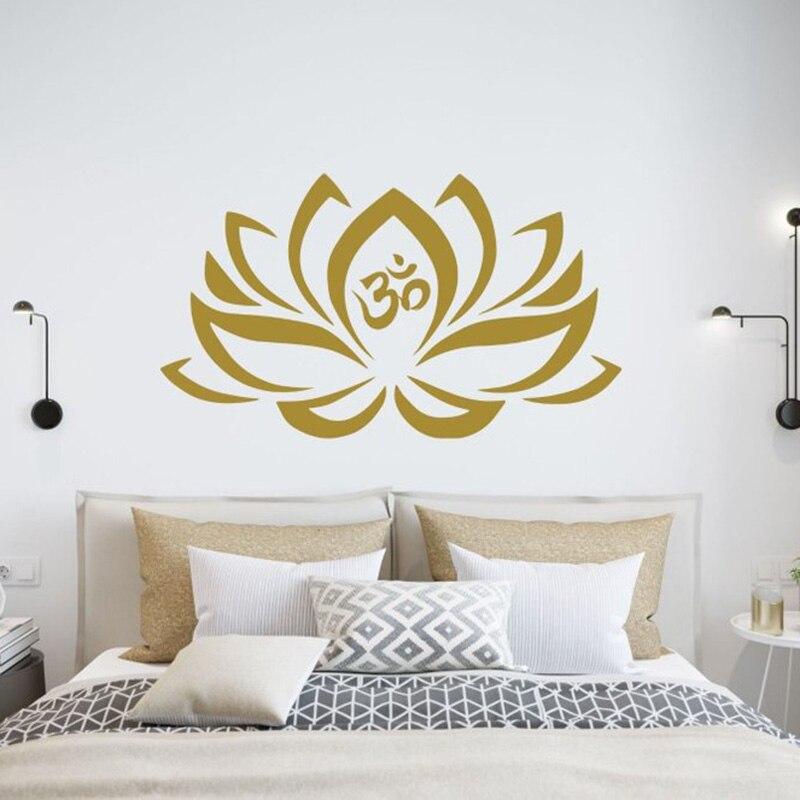 Lotus Flower Wall Decals for bedroom mehndi waterproof Vinyl Sticker Namaste Mandala Decal Yoga Studio Decor Boho Bohemian G264