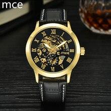 MCE marca 2016 Reloj Mecánico de Los Hombres de Moda Casual Reloj Mecánico Esquelético de Oro Negro de Cuero resistente al agua reloj de los hombres