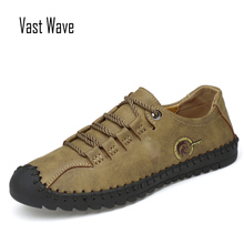 VASTWAVE Fashion Leather Spring Casual Shoes Mens Handmade Vintage Loafers Men Flats Hot Sale Moccasins Sneakers Big Size