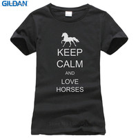 Fashion Unique Classic Cotton Women S Short Sleeve Gift O Neck Keep Calm And Love Horses