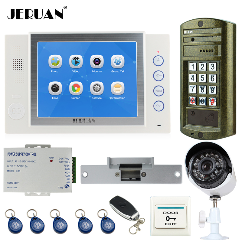 JERUAN NEW Metal Waterproof Access password keypad HD Mini Camera 8 inch TFT LCD Color Video Door Phone Intercom System kit 2V1