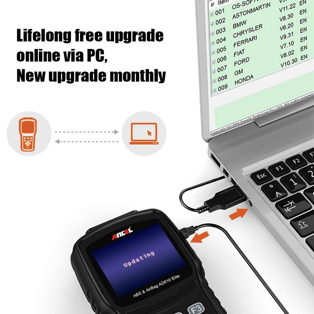 OBD2 Automotive Scanner ABS Airbag SRS SAS Reset Code Reader Car Diagnostic Tool