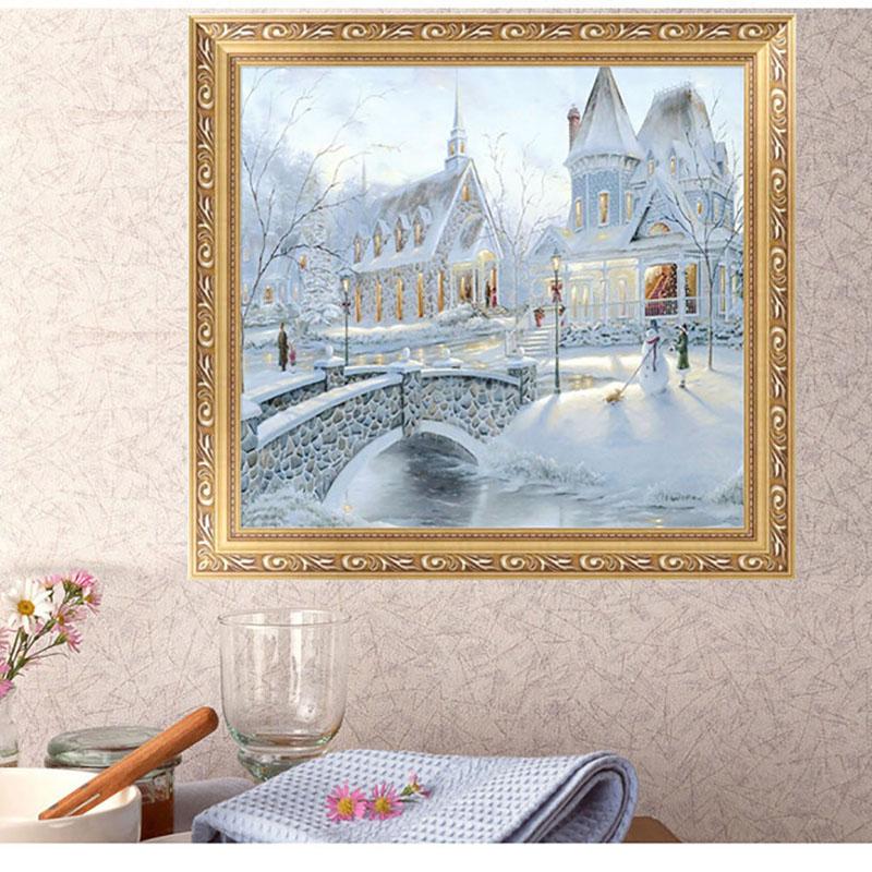 pintura de casa de navidad