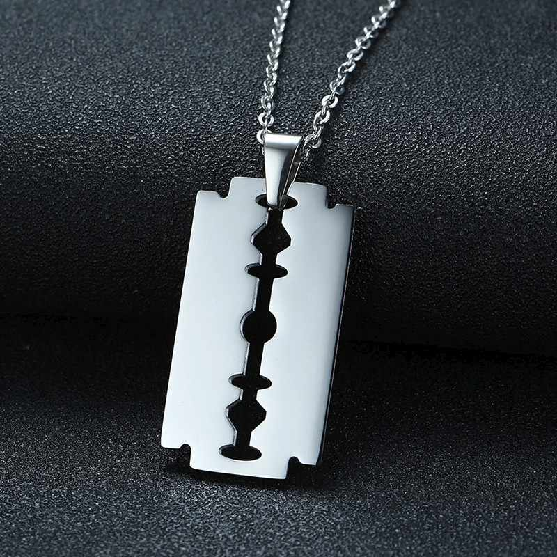 Men's Silver Tone Razor Blade Pendant Necklace for Men Stainless Steel Male Accessories Jewelry for Him with 20 or 24 inch