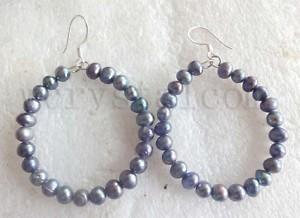 """Circle Natural Pearl beads Off Round Black Freshwater Pearls Earrings Hoop 1.5"""""""