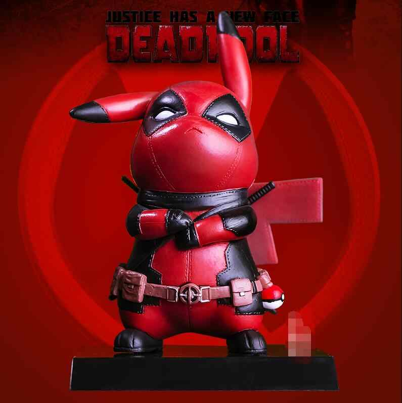 Capitão América Deadpool Pikachu Mini PVC Figura Collectible Modelo Toy Small Size 10 cm