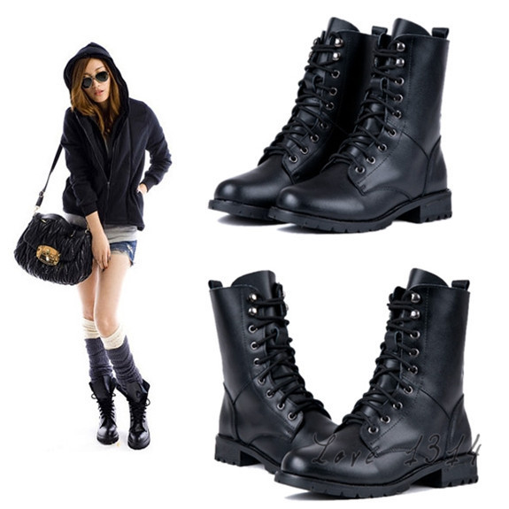 e774226ca612 Women Motorcycle Boots Fashion Autumn Ladies Vintage Military Army Punk  Goth Ankle Shoes Women PU Leather Flat Boots Black 7956