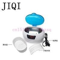 JIQI 220 V/110 v 50 w Ultrasonik Temizleyici Mücevher Diş İzle Gözlük Diş Fırçaları Temizleme Aracı 600 ml